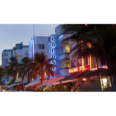 Hotels lit up at dusk in a city Miami Miami-Dade County Florida USA Poster Print](Party City In Miami Gardens)