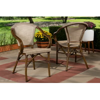 Set of 2 Baxton Studio Artus Classic French Indoor and Outdoor Beige Bamboo Style Stackable Bistro Dining Chair Set