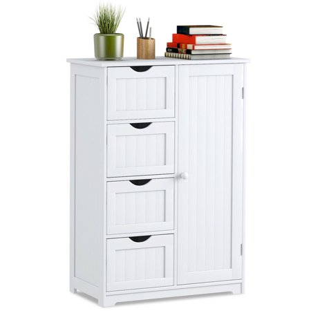 Costway Wooden 4 Drawer Bathroom Cabinet Storage Cupboard 2 Shelves Free Standing (Antique White Kitchen Cabinets With Stainless Steel Appliances)