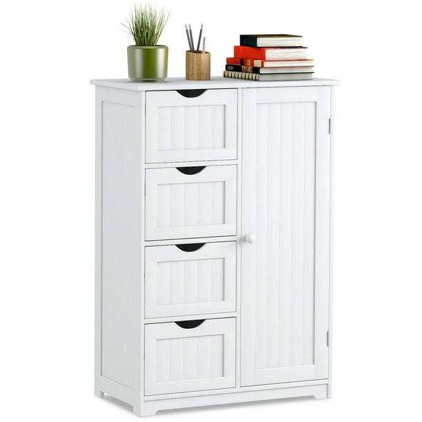 Goplus Wooden 4 Drawer Bathroom Cabinet Storage Cupboard 2 Shelves Free Standing White