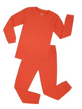 Elowel Boys Coral Solid 2 Piece Pajama Set 100% Cotton (Size 12 M -12 Years)