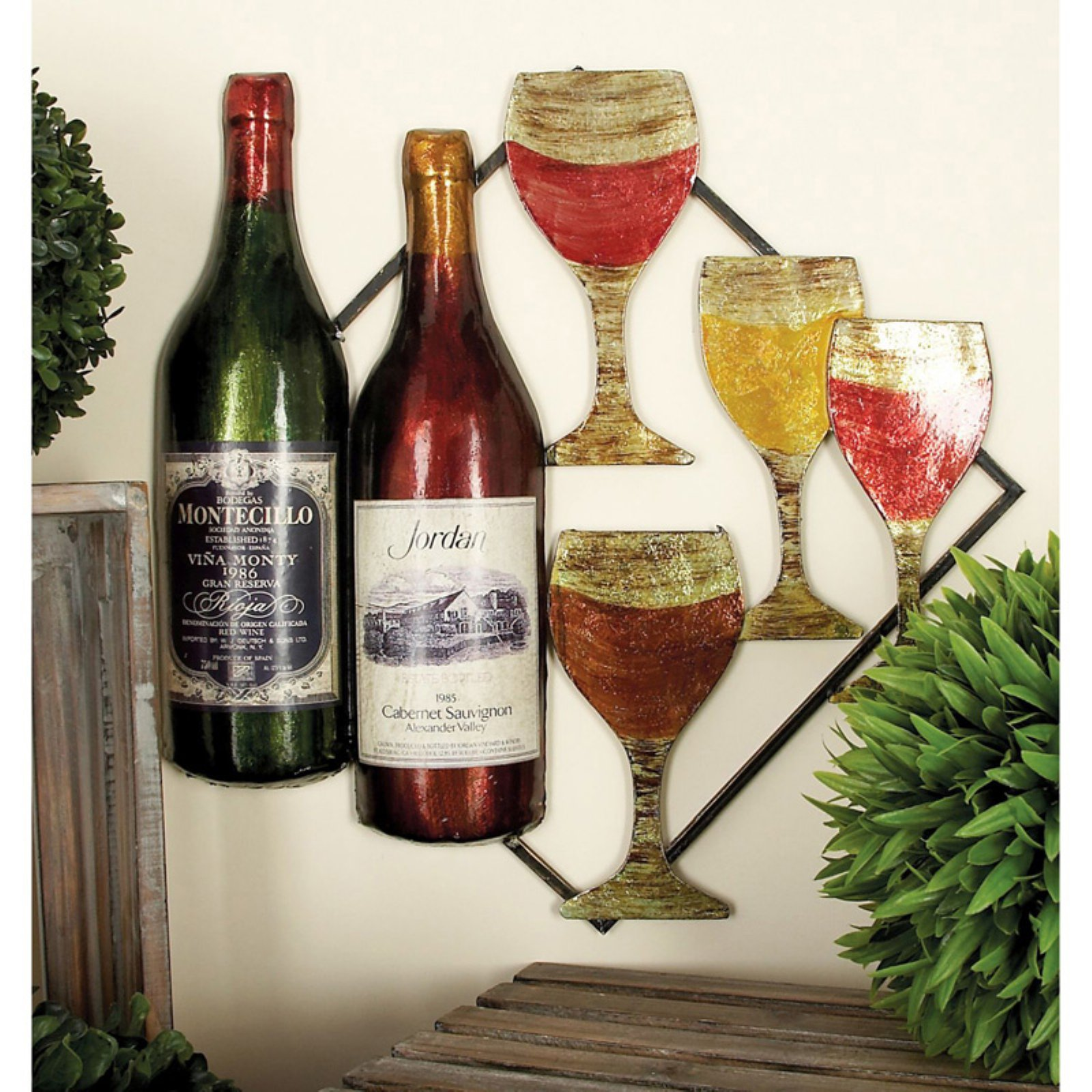 Decmode Metal Wine Wall Decor, Multi Color