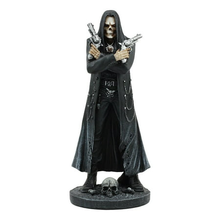 Ebros Assassin's Creed Hooded Grim Reaper Skeleton With Dual Beretta Statue Reaper Assassin Time Waits For No Man Hitman Ghost Rider - Hooded Reaper