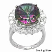 De Buman  Sterling Silver Mystic Quartz and Cubic Zirconia Ring