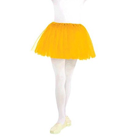 Tutu with Elastic Waistline Children Ballet Princess Costume Party, Yellow, Fabric, Child - Size 10. - Ballet Costumes For Sale