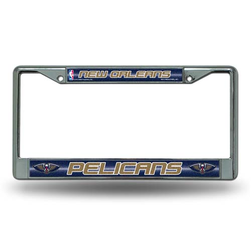 New Orleans Pelicans Laser Etched Chrome License Plate Frame (Glitter)