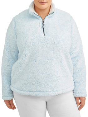 Time and Tru Women's Plus Size Size Snow Tipped Quarter Zip Jacket