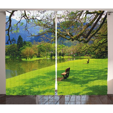 Nature Curtains 2 Panels Set, Panoramic View of Public Lake Garden at Asian Park Idyllic Landscape, Window Drapes for Living Room Bedroom, 108W X 108L Inches, Lime Green Violet Blue, (Asian Single Light)