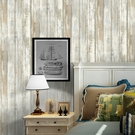 Multi-purpose PVC Vintage Self-adhesive Wood Grain Floor Wall Contact Paper Covering Waterproof Peel & Stick Wallpaper Stickers Home (Wood Paper)