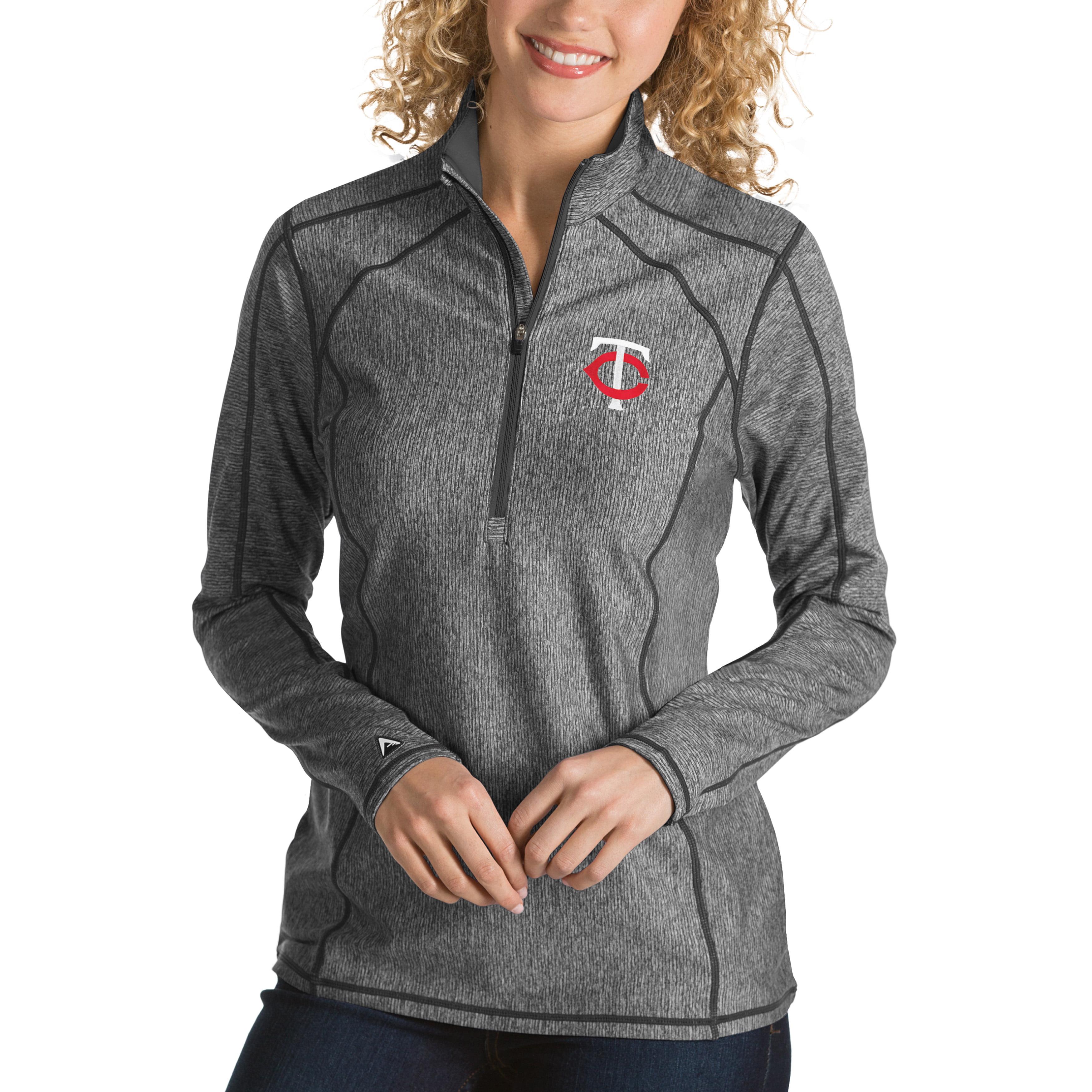 Minnesota Twins Antigua Women's Tempo Desert Dry 1/4-Zip Pullover Jacket - Heathered Charcoal