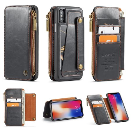 iPhone X Case, iPhone XS Cover, Allytech Detachable Wallet Leather Zipper Cover with Credit Card Slots and Hand Strap Flip Stand Slim Magnetic Clasp Case for Apple iPhone X/ XS, (Flip Clasp)