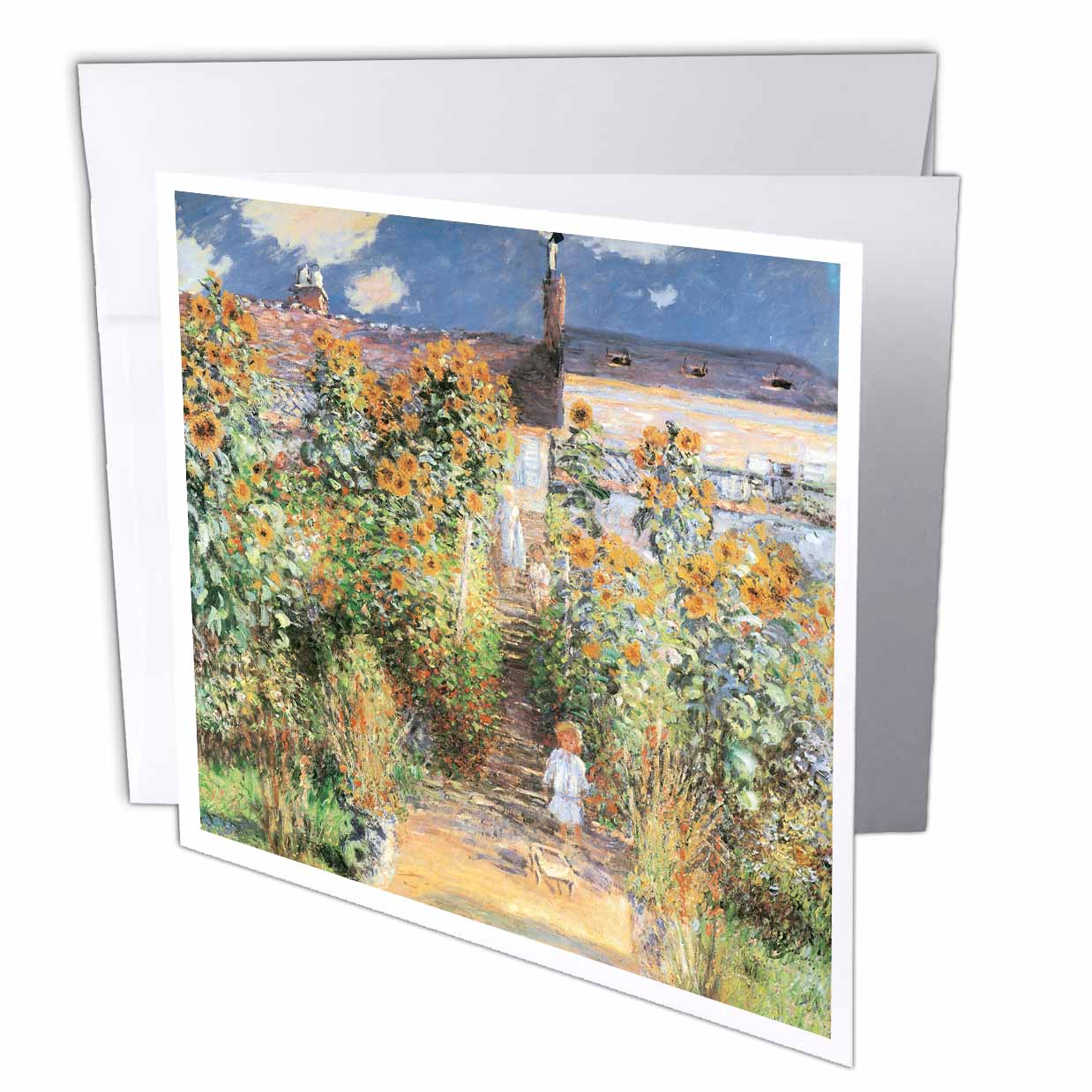 3dRose The Artists Garden At Vetheuil By Claude Monet, 1880, Greeting  Cards, 6