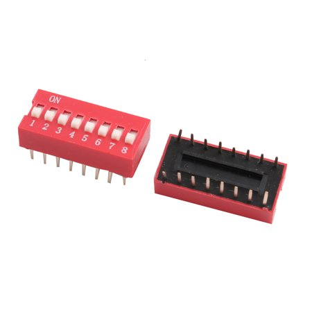2 Pcs Flat Dial Toggle Switches DIP 2 x 8 Terminal 8 Position Red 2 Revolutions 8' Dial