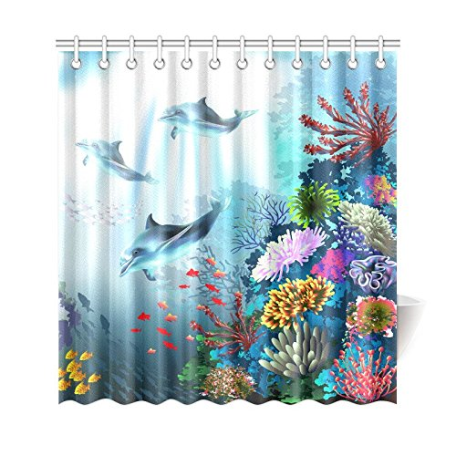 GCKG Underwater Sea Animal Dolphins Shower Curtain Deep Ocean Coral Plants Polyester Fabric Bathroom Sets With Hooks 66x72 Inches