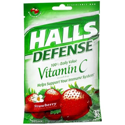 Halls Defense Vitamin C Drops Strawberry 30 Each (Pack of 2)