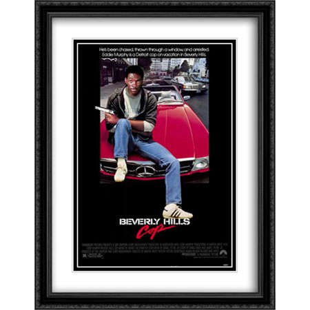 Beverly Hills Cop 28X36 Double Matted Large Black Ornate Framed Movie Poster Art Print