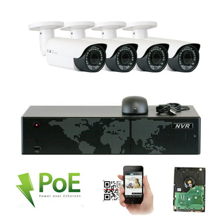 GW High End 8 Channel Ultra 4K NVR H.265 5 Megapixel IP PoE Security Camera System - 4 x 5MP Super HD 1920p Outdoor/Indoor 2.8-12mm Lens Bullet Camera, 2TB (Best Ip Poe Security Camera)