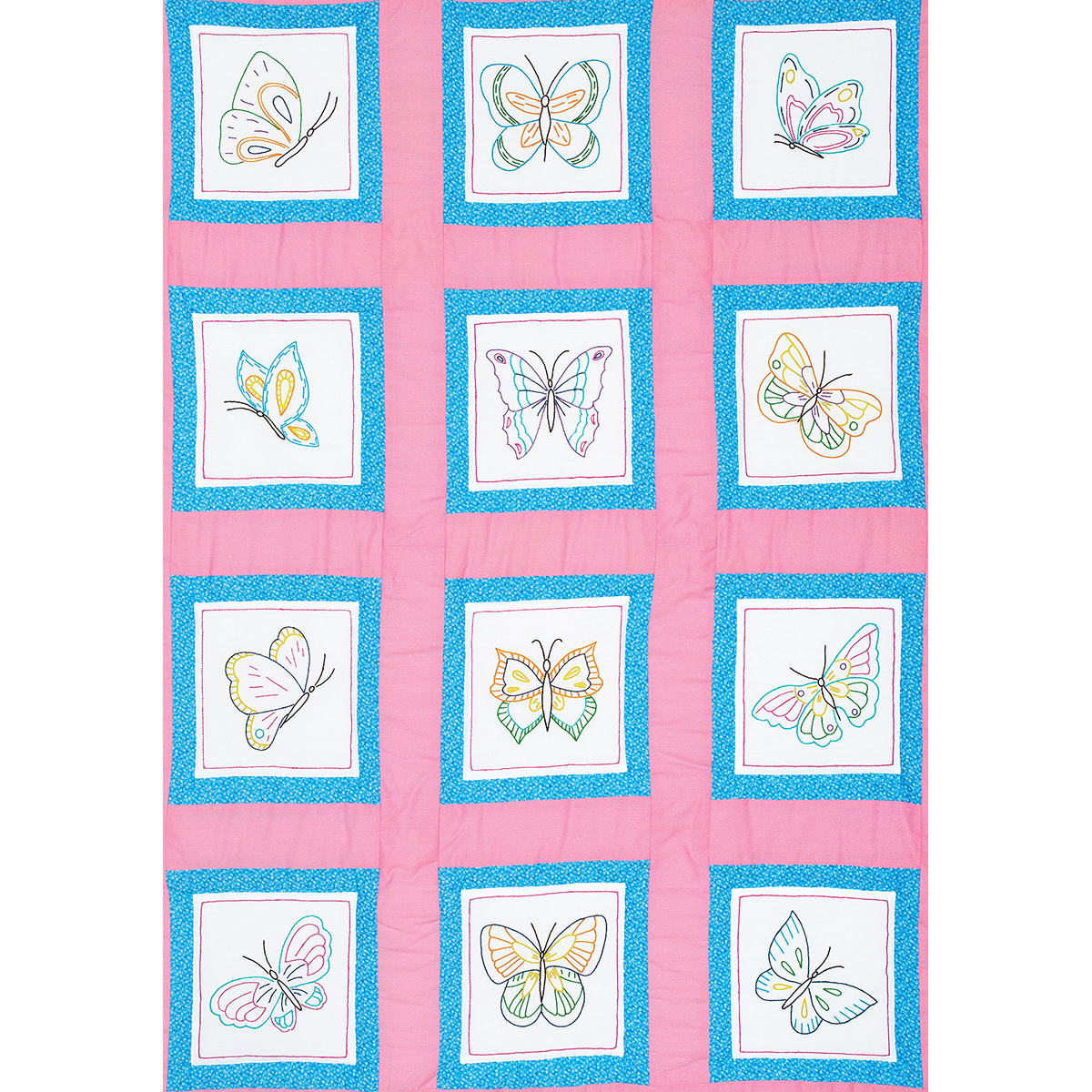 """Themed Stamped White Quilt Blocks 9"""" x 9"""" 12pk, Butterflies"""