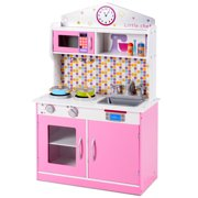 Gymax Kids Wooden Pretend Cooking Playset Cookware Play Set Kitchen Toys Toddler Gift