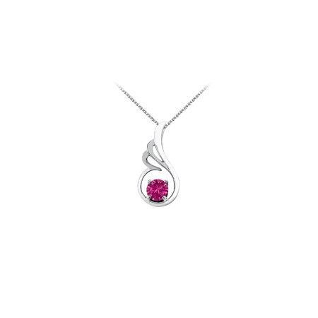 September Birthstone Pink Sapphire Pendant in 14K White Gold with Free Chain Coolest Price - image 2 de 2