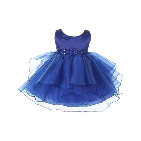 Chic Baby Girls Royal Blue Organza Embellished Waist Flower Girl - Baby Blue Girls Dress