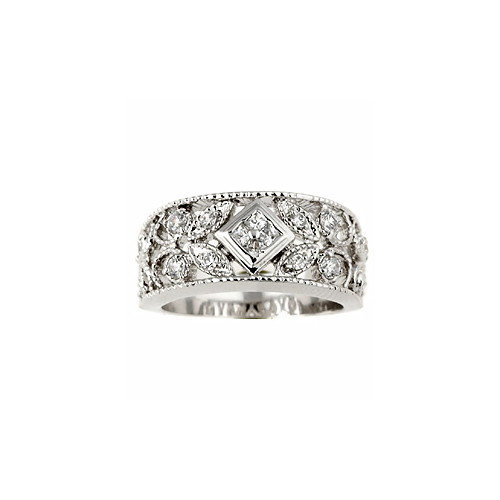 Sterling Essentials Sterling Silver Antique Design Cubic Zirconia Ring