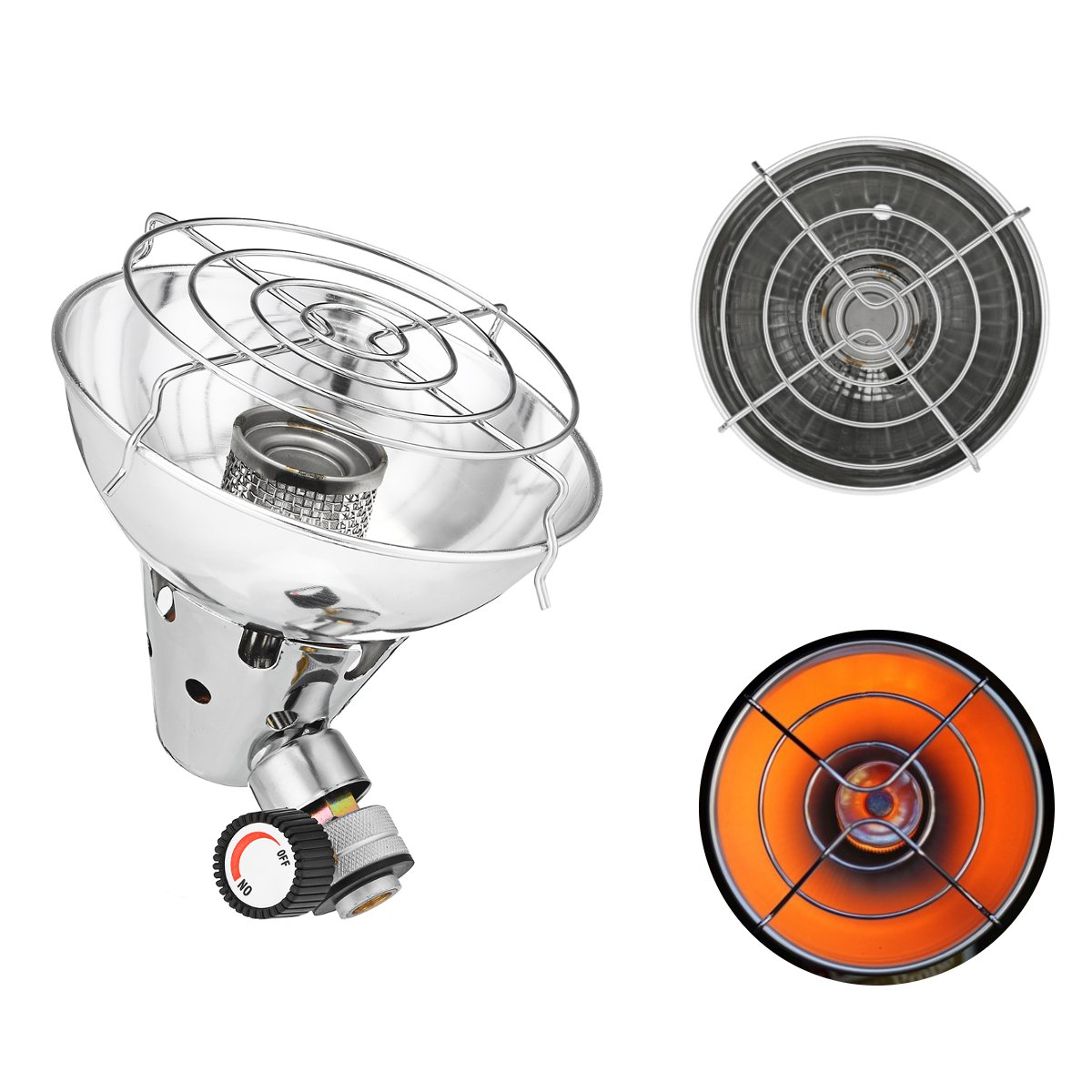 Kuinayouyi Outdoor Heat Cooker Gas Heater Camping Heating Aluminum Alloy Portable Camping Tent Portable Gas Heater Stove Tent Accessories