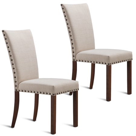 Gymax Set of 2 Armless Dining Chairs Fabric Upholstered NailHead W/Wood Legs Furniture