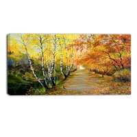 Design Art Beautiful Fall Forest Landscape Painting Print on Wrapped Canvas