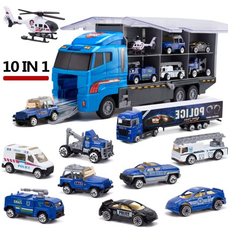 Police Transport Truck 10 in 1 Mini Die-Cast Plastic Play Vehicle in Carrier Car Toy Set, Mini Cars for Kid Children Boy and Girl Best