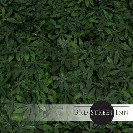 3rd Street Inn Artificial Marijuana Pot Leaf Hedge - Fake Weed Plant - Smoke Shop Decor - Sound Diffuser Marijuana Wall Art - Topiary Cannabis Greenery Panels (12, Cannabis) (Weed Leaf Neon)