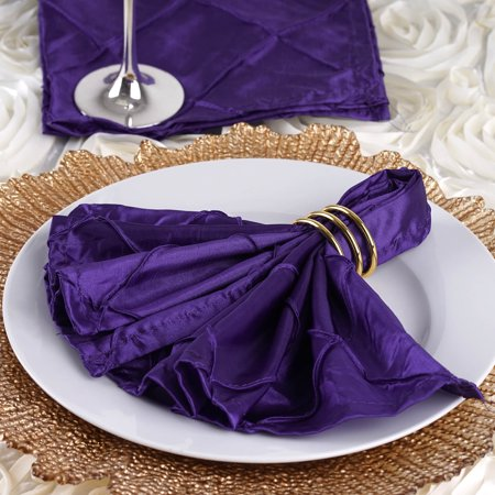 BalsaCircle 5 pcs 17 inch Pintuck Taffeta Napkins - Wedding Party Events Restaurant Dinner Kitchen Home Decorations ()