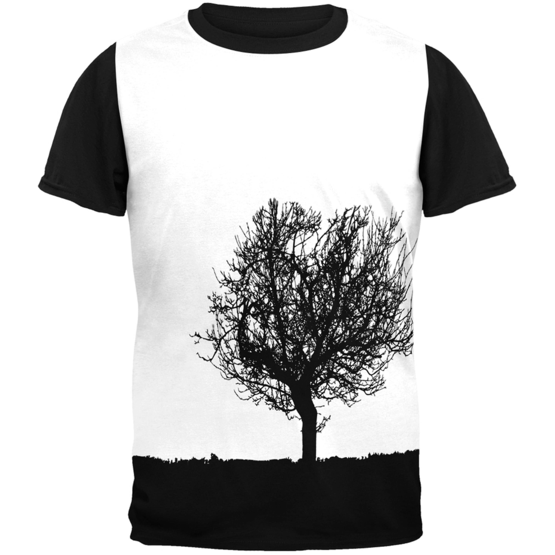 Tree Silhouette Adult Black Back T-Shirt