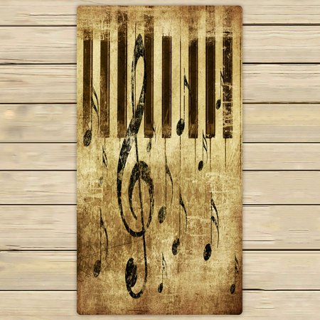PHFZK Music Towel, Vintage Retro Music Notation Hand Towel Bath Bathroom Shower Towels Beach Towel 30x56 inches ()