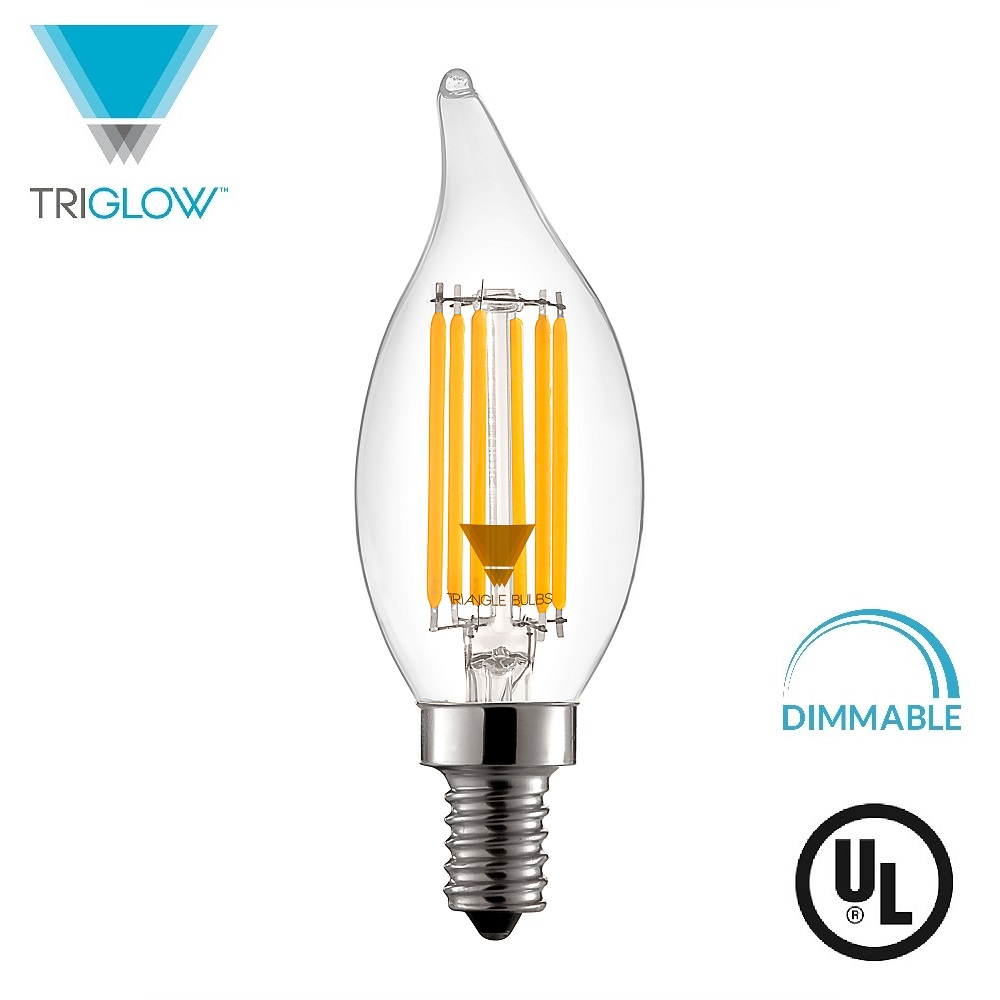 TriGlow LED 5-Watt (60W Replacement) 500 Lumen, DIMMABLE 2700K (Warm White) E12 Candelabra Base, UL Listed Clear Flame Tip Filament Bulb
