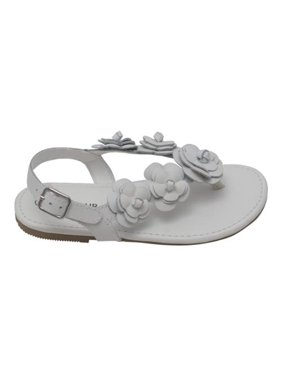 f71f60fe900 Product Image L Amour Girls White Flower Blossom Accent Buckle Thong  Sandals 11-4 Kids