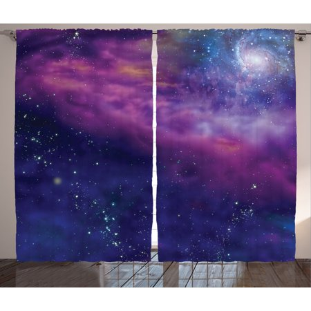 Outer Space Decor Curtains 2 Panels Set, Spiritual Dim Star Clusters Milky Circle Back with Solar System Elements, Window Drapes for Living Room Bedroom, 108W X 84L Inches, Purple Blue, by Ambesonne - Outer Space Decor