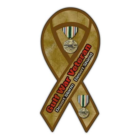 "Magnetic Bumper Sticker - Gulf War Veteran (Desert Storm, Shield) - Ribbon Shaped Support, Pride Magnet - 3.75"" x 8"""