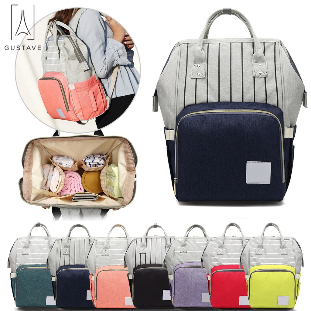 GustaveDesign Multifunctional Mummy Diaper Bag Waterproof Baby Nappy Backpack Large Capacity Travel Bag Baby Care(Pink)