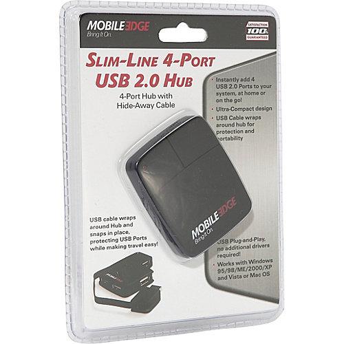 Mobile Edge USB 2.0 4-Port Mini-Hub w/ Wrap-Around Connector