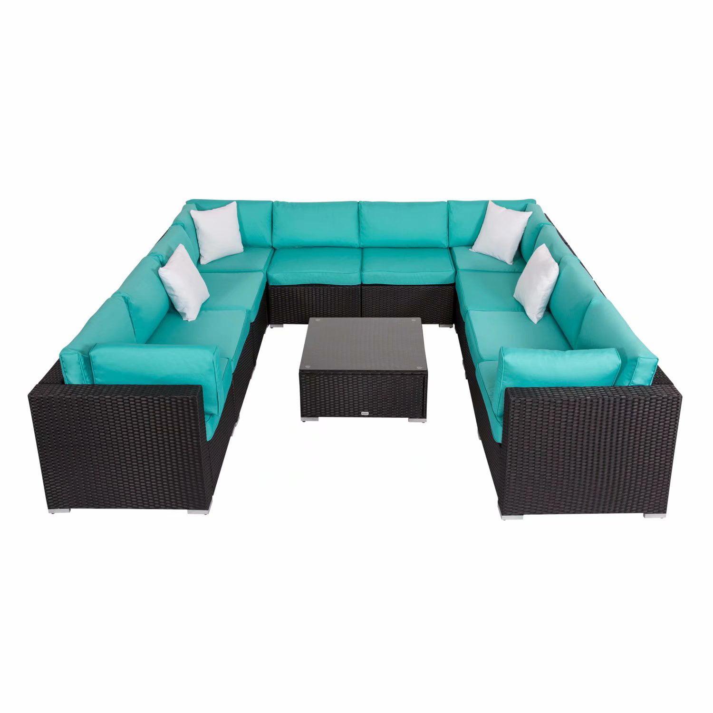 Kinbor 11pcs Outdoor Patio Furniture Sectional Pe Wicker Rattan Sofa Set