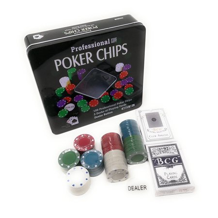 Dealer Button Set - THY COLLECTIBLES Texas Hold 'em Black Jack Poker Chip Set with 100 Chips 2 Decks Of Playing Cards And 1 Dealer Button