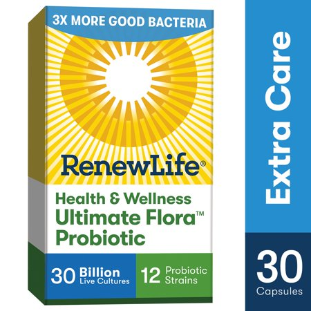 Renew Life Adult Probiotic - Health & Wellness Ultimate Flora Extra Care Probiotic, Probiotic Supplement - 30 Billion - 30 Vegetarian (Flora Super 8 Hi Potency Probiotic 60 Capsules)