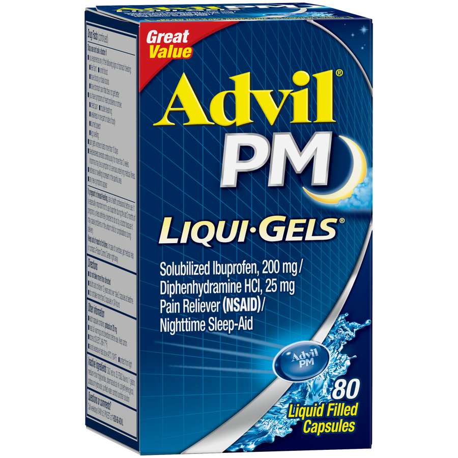 Advil PM (80 Count) Pain Reliever / Nighttime Sleep Aid Liquid Filled Capsule, 200mg Ibuprofen, 38mg Diphenhydramine
