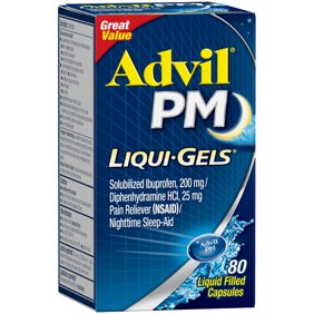 Advil PM (80 Count) Pain Reliever / Nighttime Sleep Aid Liquid Filled Capsule, 200mg Ibuprofen, 38mg Diphenhydramine