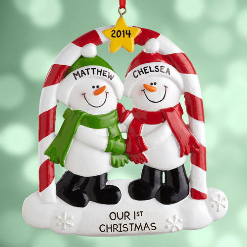 Personalized Couples First Christmas Snowman Ornament - Walmart.com