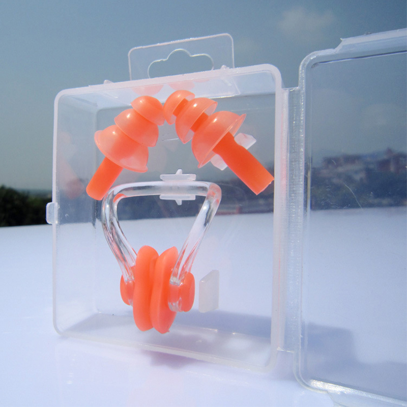 Soft Silicone Nose Clip Ear Plugs Set for Swimming Diving Kids Adults Unisex Set Orange