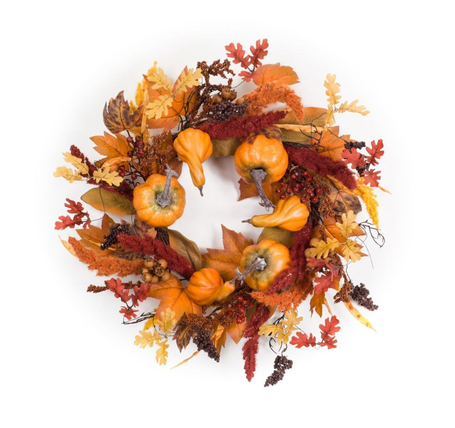 Orange and Red Fall Inspired Pumpkins, Gourds and Foxtail Wreaths - 27-Inch, Unlit