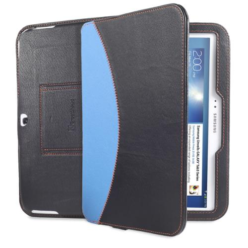 Black Blue PU Leather Keyboard Stand Case Cover for Samsung Galaxy Tab 3 10.1