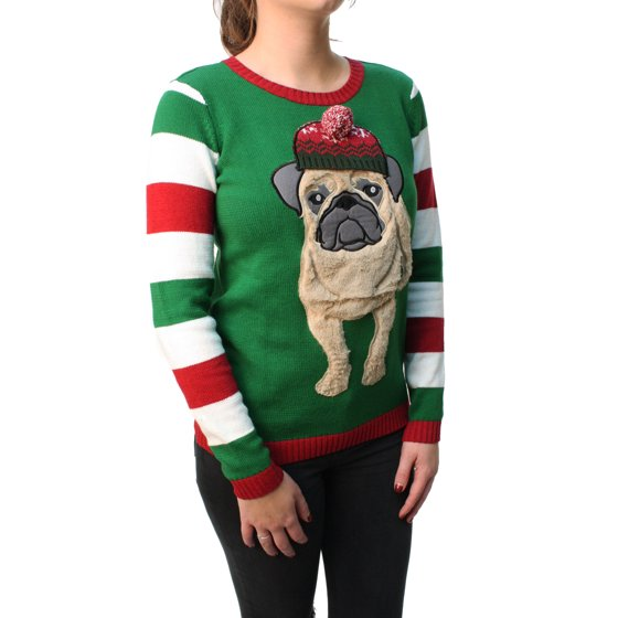 53.34 cm.  - Shoulder to Hem  25 in. 63.5 cm.  - Sleeve Length  25 in. 63.5  cm. Ugly Christmas Sweater Women s 3D Furry Pug Beanie Pullover Sweatshirt c9277b15ef